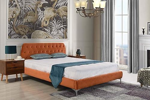 Mid Century Modern Elegant Velvet Bed Frame Queen