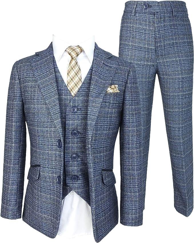 Traje de Boda a Cuadros de Tweed Azul Cielo para Eventos Formales ...