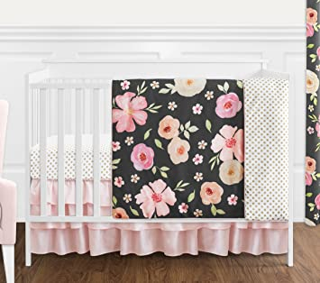 4 pc Blush Pink Grey and White Watercolor Floral Baby Girl Crib Bedding Set without Bumper by Sweet Jojo Designs Rose Flower Polka Dot