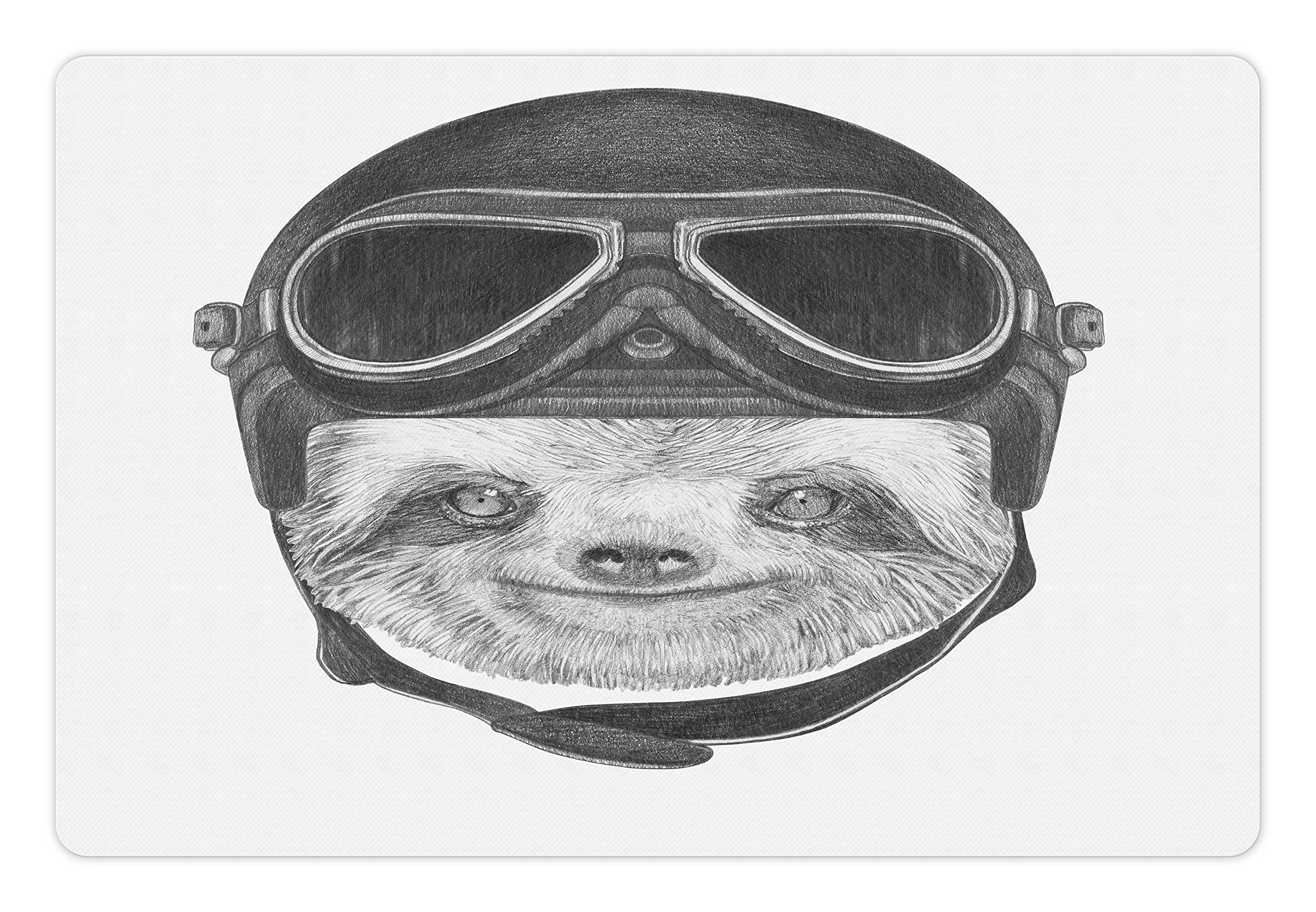 Ambesonne Sloth Pet Mat for Food and Water, Hand Drawn Portrait of a Sloth with Vintage Effect Biker Rider Animal in Urban Life, Rectangle Non-Slip Rubber Mat for Dogs and Cats, Grey Black