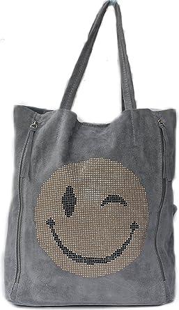 Genießen Sie kostenlosen Versand attraktiv und langlebig kauf verkauf Strass Smiley Italy Bag Glitzer Tasche GRAU Wildleder Umhängetasche  Handtasche Smileys
