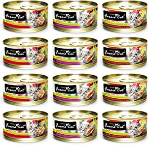 Fussie Cat Premium Grain Free Canned Cat Food 3 Flavor Variety Bundle: (4) Tuna with Chicken, (4) Tuna with Salmon and (4) Tuna with Ocean Fish, 2.82 Oz Each (12 Cans Total)