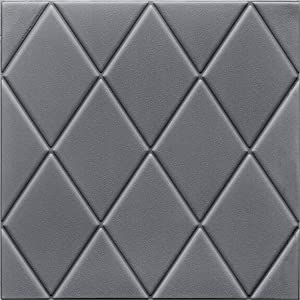 Fabulous Décor: Diamond Embossed 3D Wall Panels Soft Thick 8mm Foam Peel and Stick Textured Wallpaper Home Decoration, 4-Pack of 2.3ft X 2.3ft Total 21 SqFt (Silver/Gray)