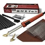Jounjip Plastic Welding Repair Kit for Bumper, Kayak, Canoe - 2 Tips, 20 Black Plastic Rods, 2 Mesh, 80W Iron, 110V Only