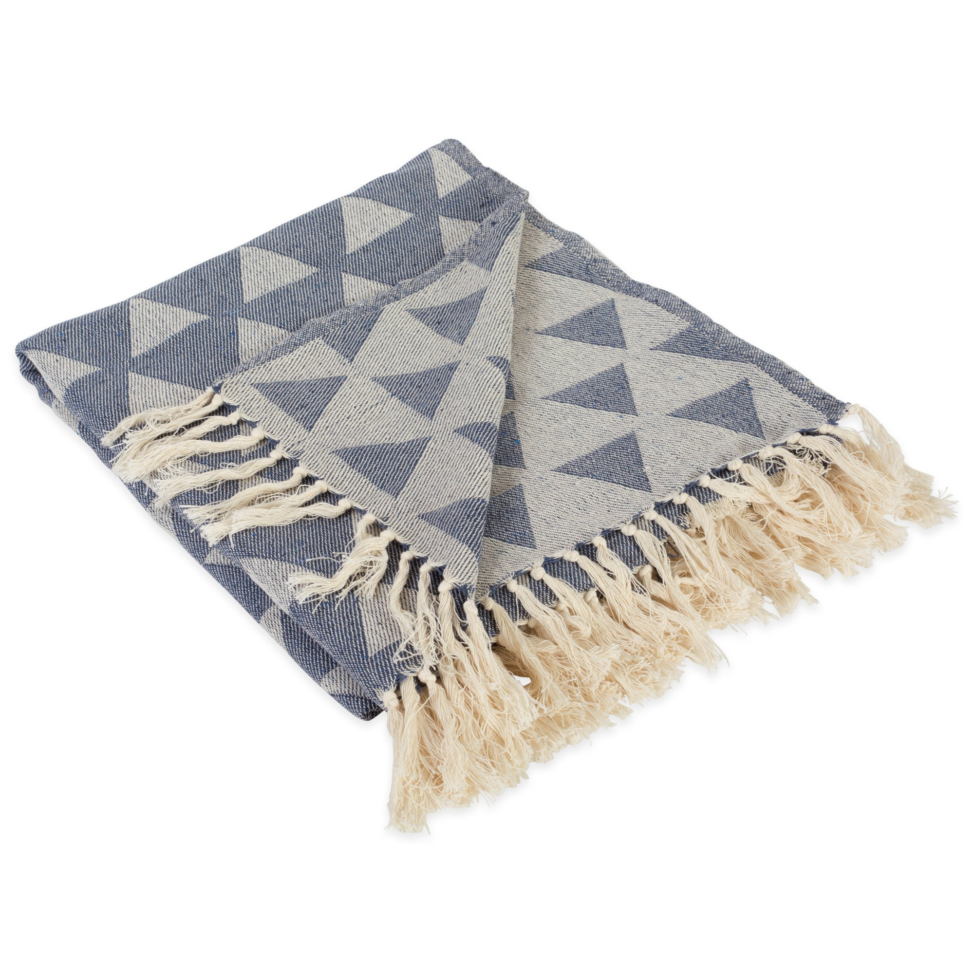 DII Modern Moroccan Cotton Blanket Throw with Fringe for Chair, Couch, Picnic, Camping, Beach, Everyday Use, 50 x 60 - Triangle French Blue