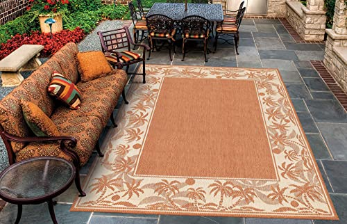 Couristan 1222 1122 Recife Island Retreat Terra Cotta Natural Rug, 7-Feet 6-Inch by 10-Feet 9-Inch
