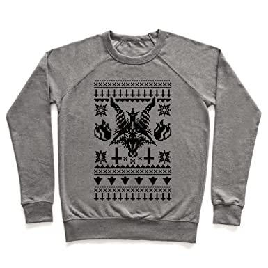 baphomet ugly christmas sweater heathered gray 2x unisex lightweight pullover sweatshirt by lookhuman
