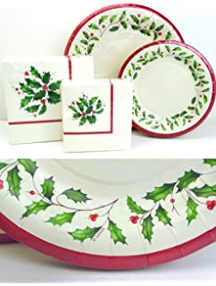 Amazon.com: Lenox Holly Disposable Paper Plates and Napkins Gift Set ...