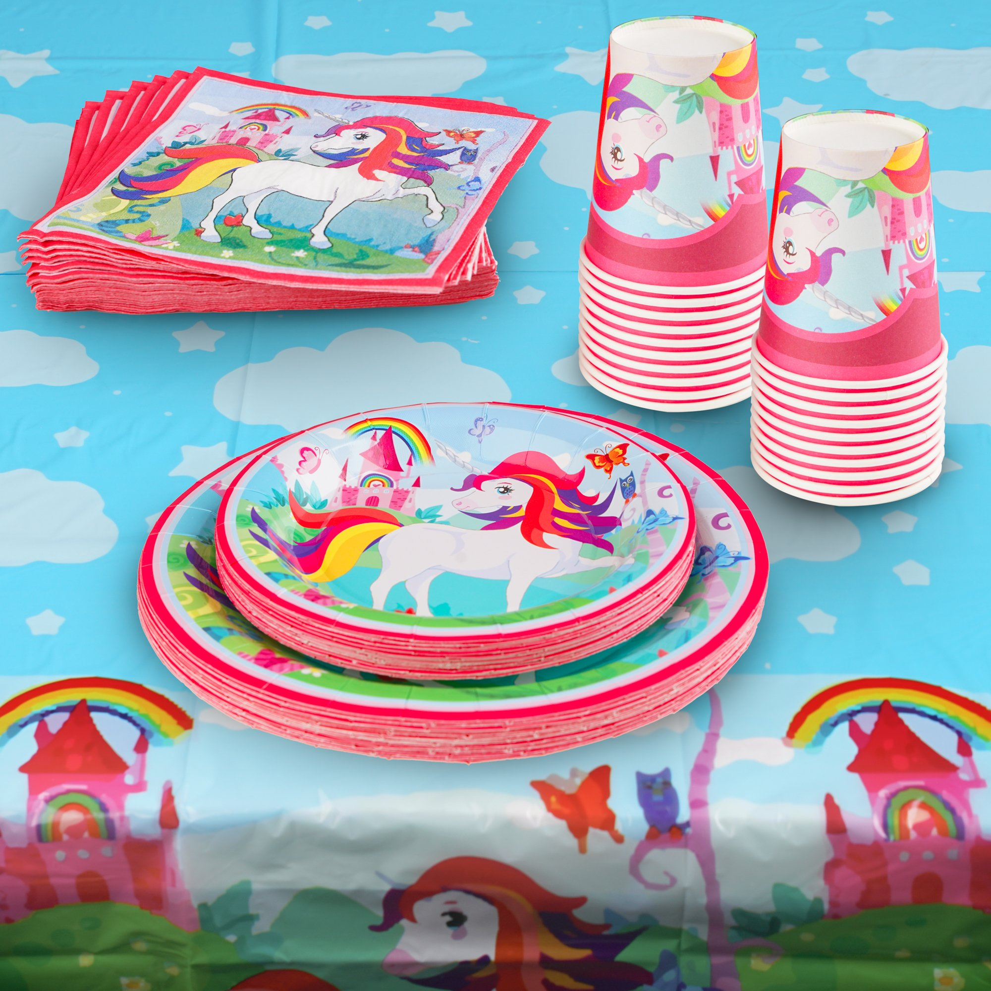 82 Piece Unicorn Party Supplies Set Including Banner, Plates, Cups, Napkins and Tablecloth, Serves 20 by Scale Rank (Image #3)