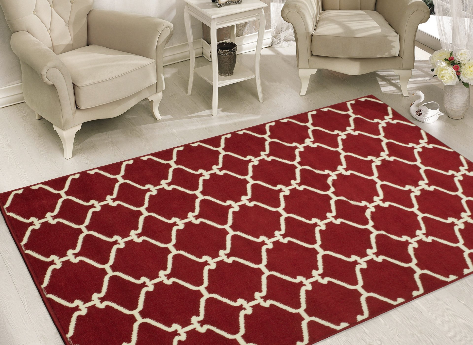 Sweet Home Stores Clifton Collection Red Moroccan Trellis Design (7'10'' X9'10) Area Rug by Sweet Home Stores