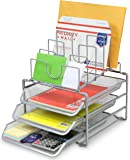 DecoBros STACKABLE Mesh Desk Convertiable Organizer 3 Letter Trays and 5 Horizontal Upright Sections, Sliver
