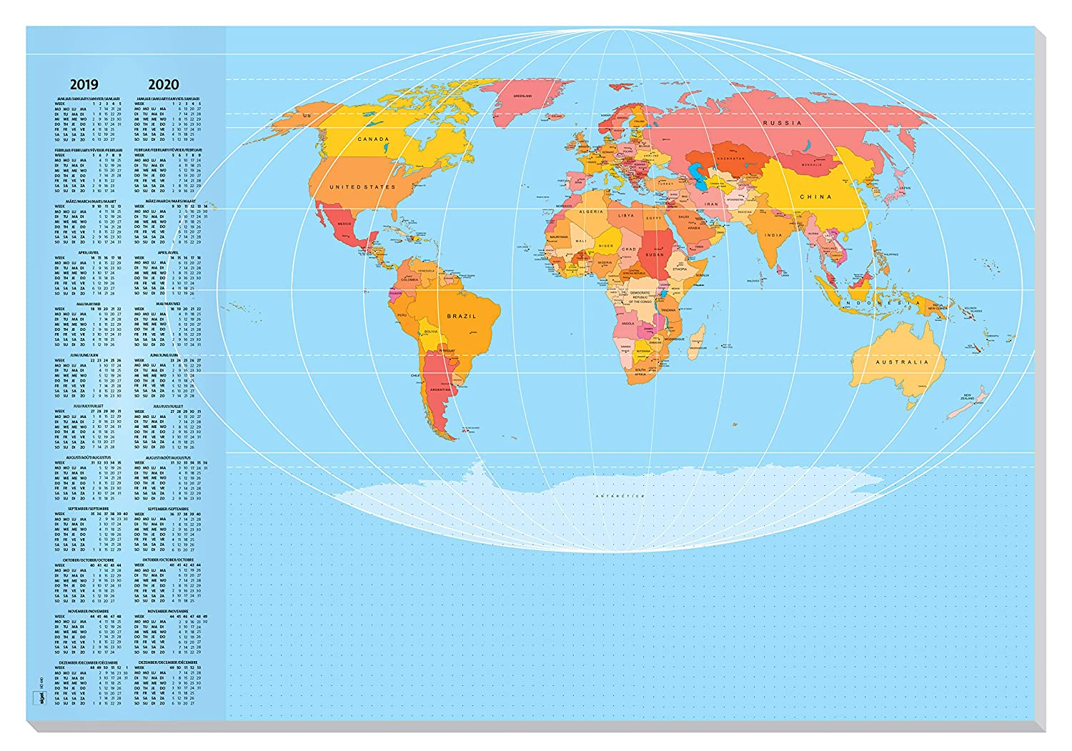 Sigel Ho440 Paper Desk World Map 30 Sheets With Current 2 Year