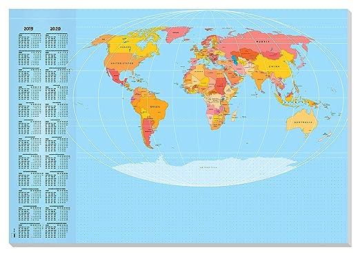 SIGEL HO440 Papier-Schreibunterlage Weltkarte, ca. DIN A2, mit 2-Jahres-Kalender, 30 Blatt - weiteres Design