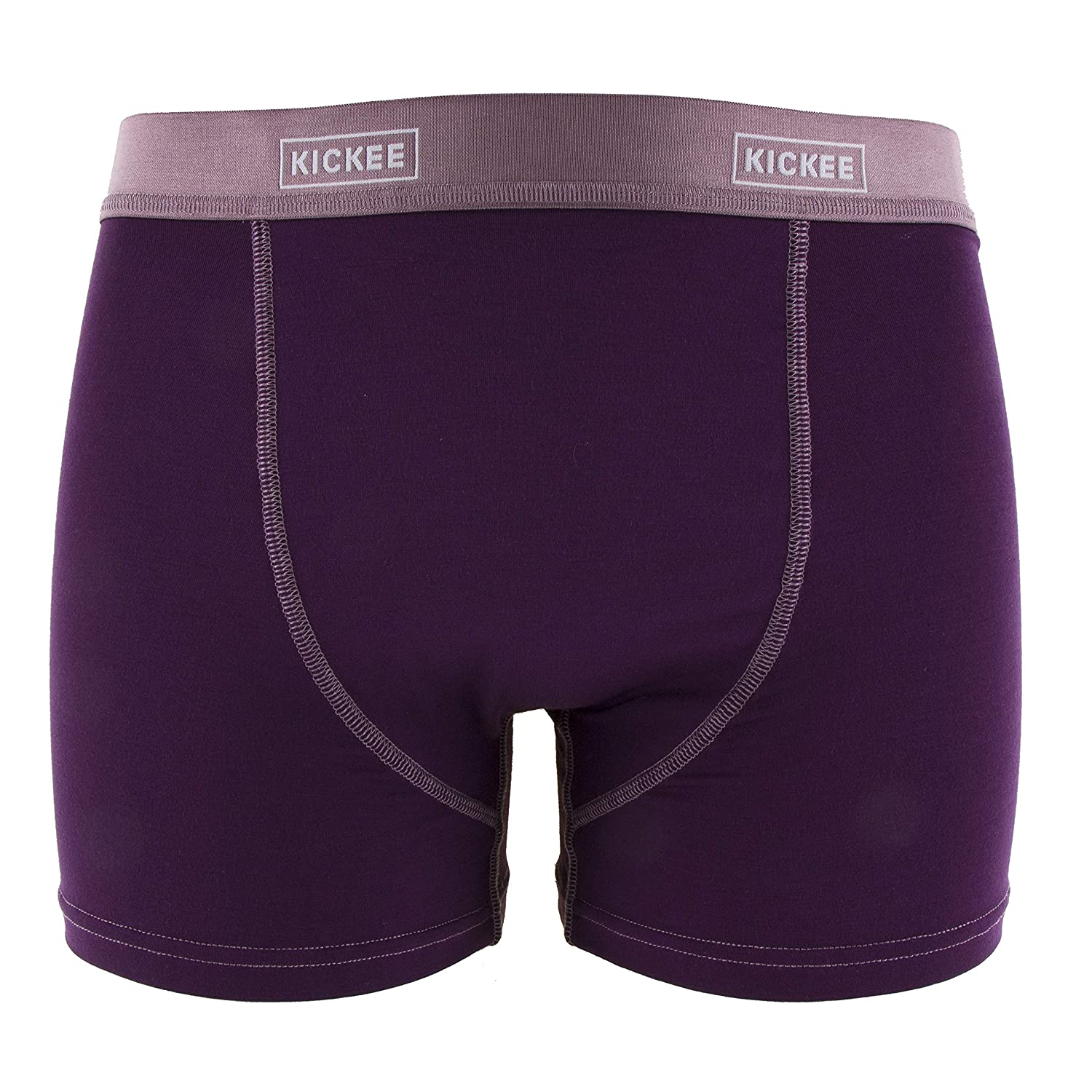 KICKEE Mens Solid Boxer Brief in Wine Grapes with Raisin S