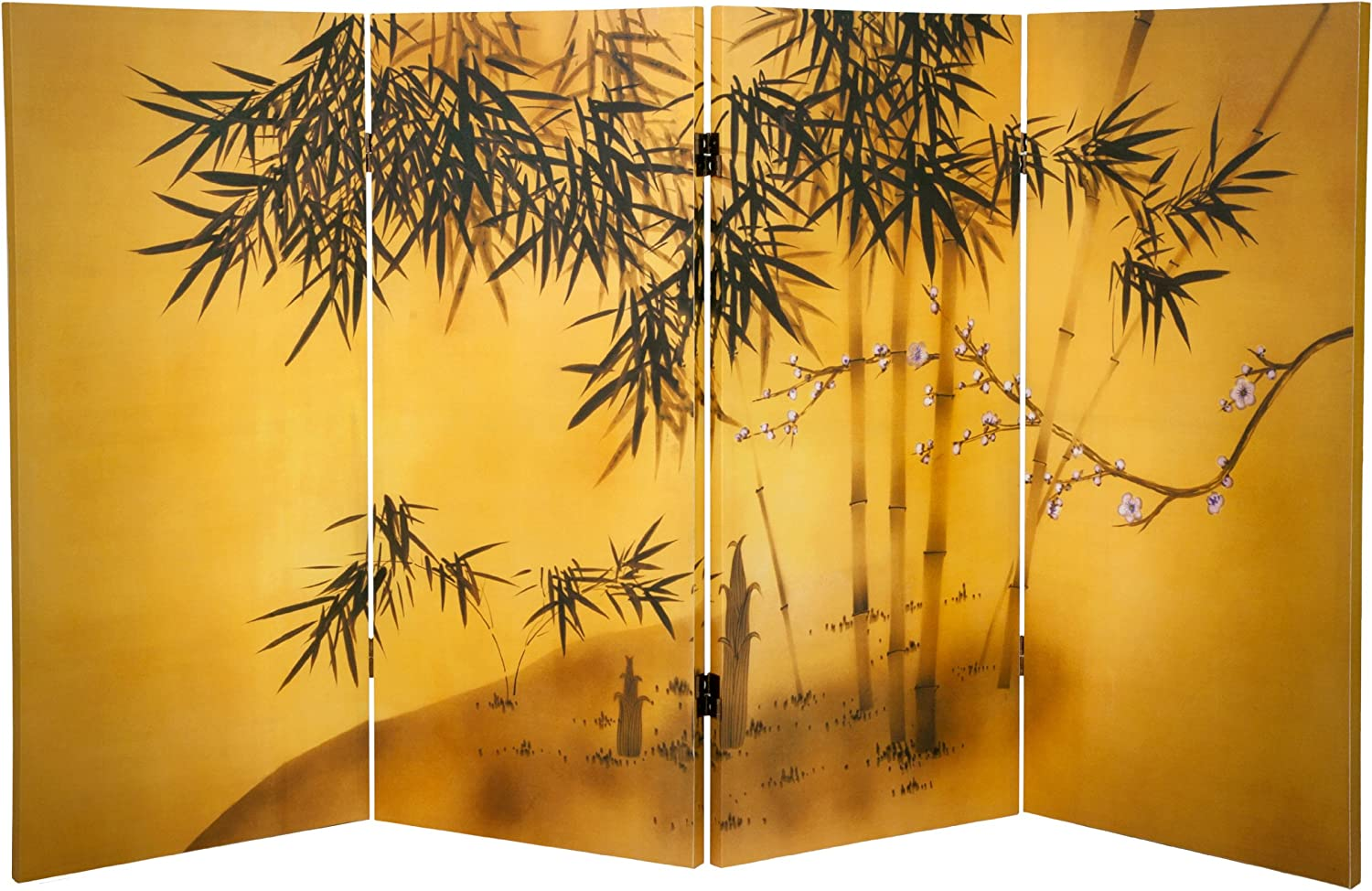 Oriental Furniture 3 ft. Tall Double Sided Bamboo Tree Canvas Room Divider