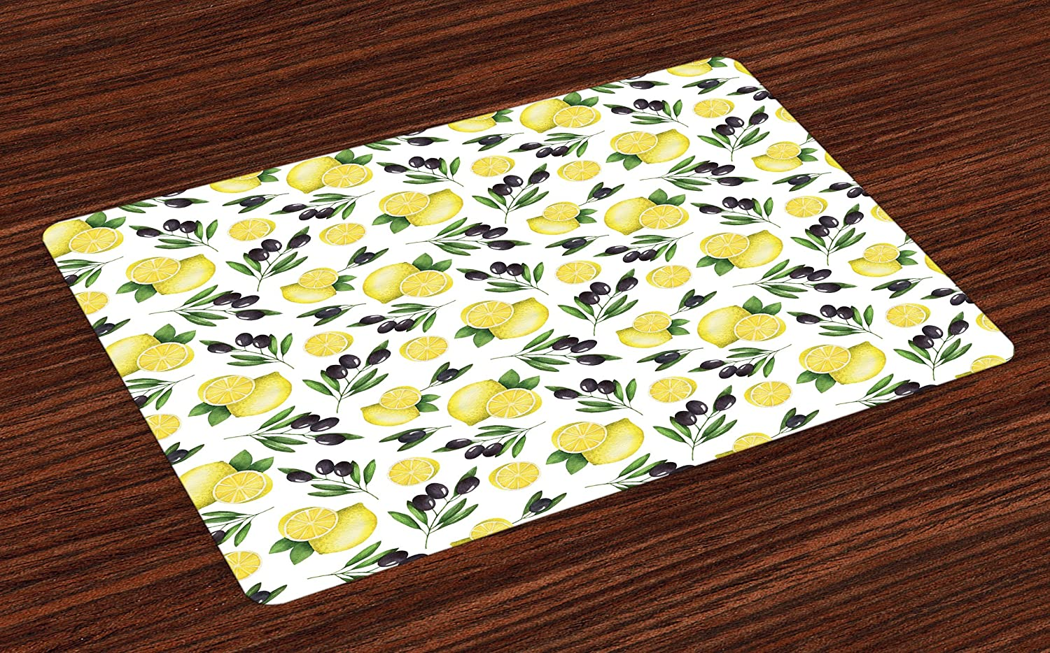 Lunarable Vintage Place Mats Set of 4, Watercolors Painted Pattern of Olives and Lemons Healthy Mediterranean Food, Washable Fabric Placemats for Dining Room Kitchen Table Decor, Yellow Black Green