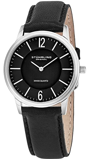 Stuhrling Original Mens & Womens Black Dial Swiss Quartz Luxury Dress Watch 38 mm Ultra Slim