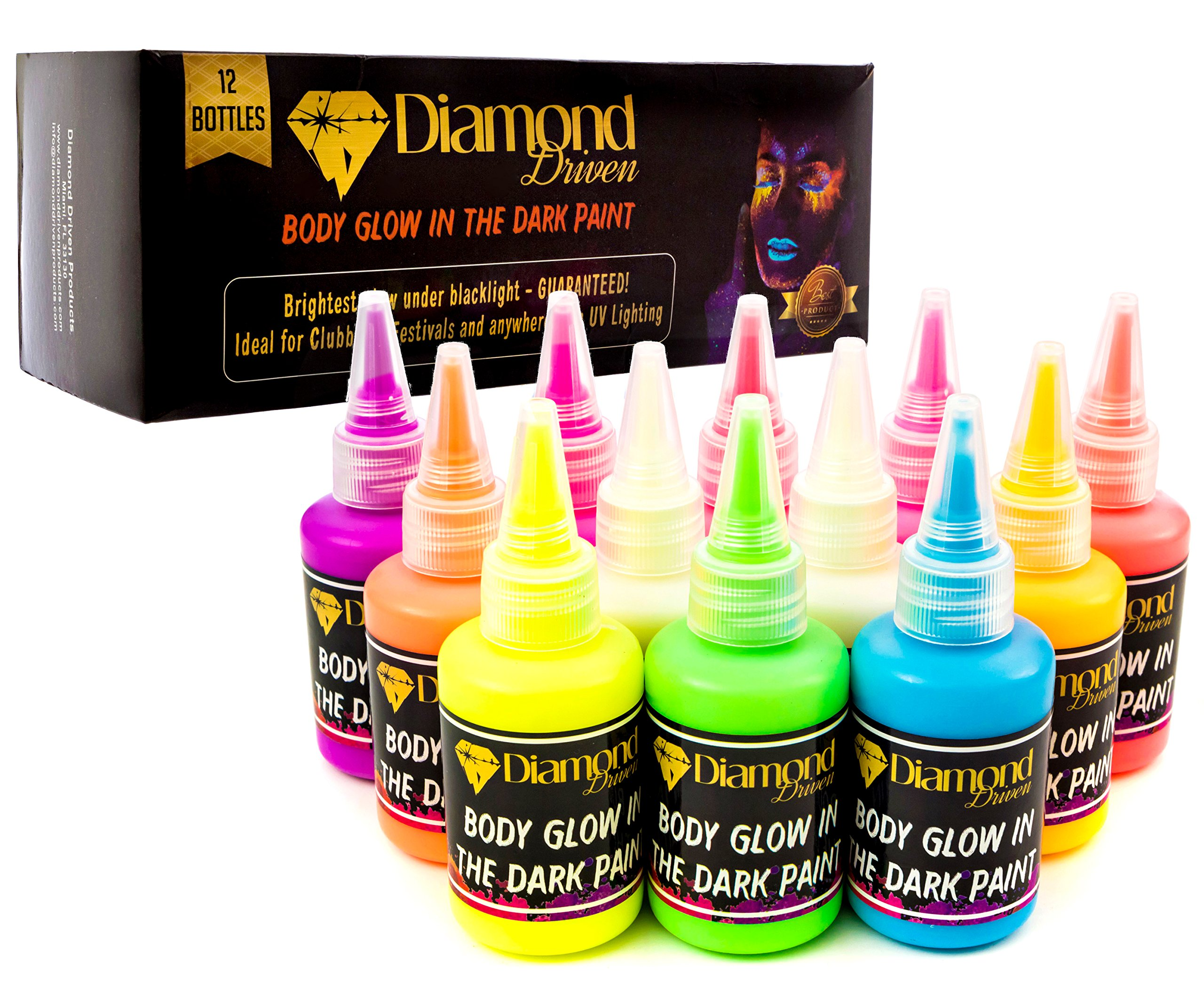 Diamond Driven Body Glow in Dark Paint Blacklight Face and Body Paint UV, Acrylic Glow Paint 60ml 2.02oz - Set of 12 Tubes - Neon Fluorescent by Diamond