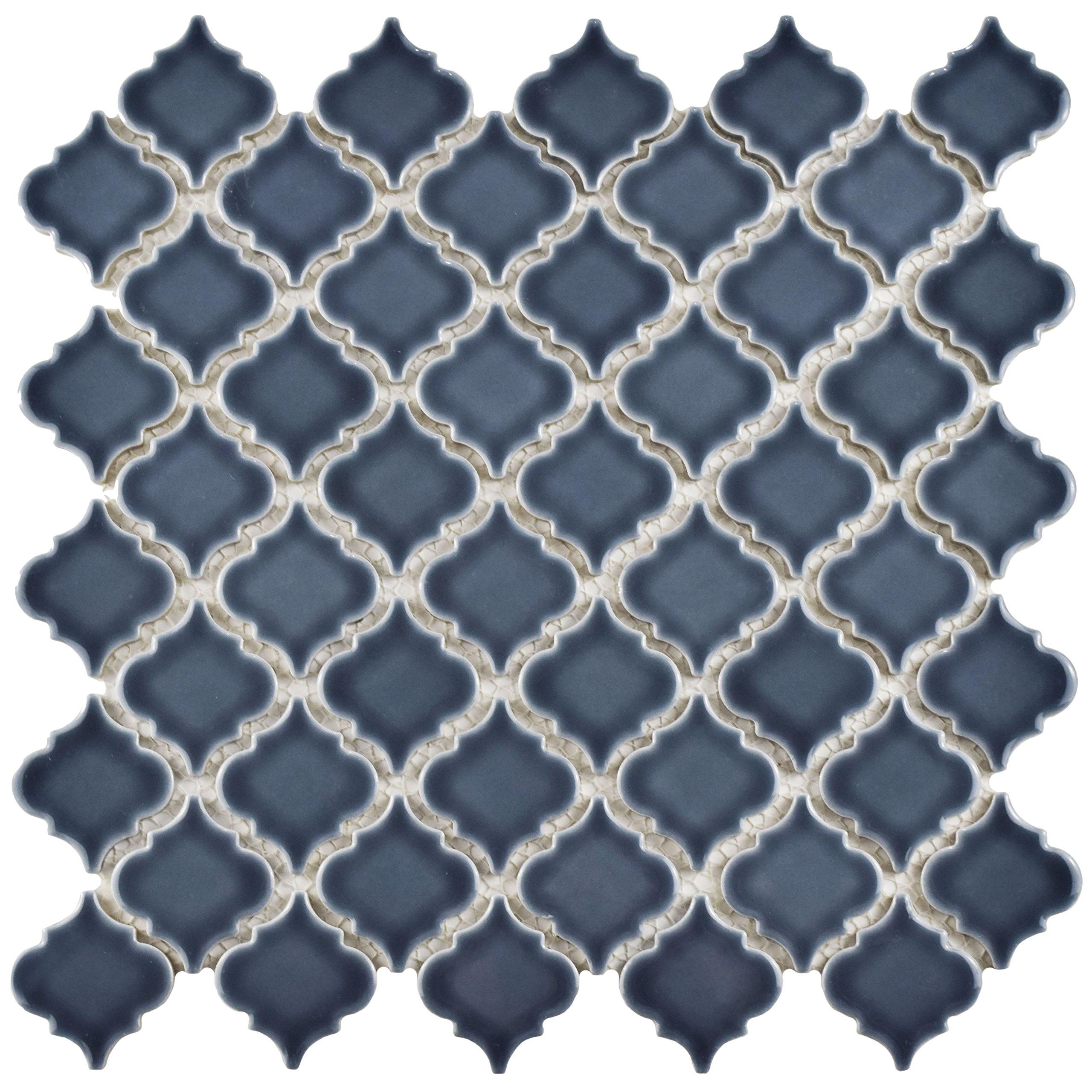 SomerTile FKOLTR86 Tinge Porcelain Mosaic Floor & Wall Tile, 12.375'' x 12.5'', Storm Grey,,, Blue by SOMERTILE