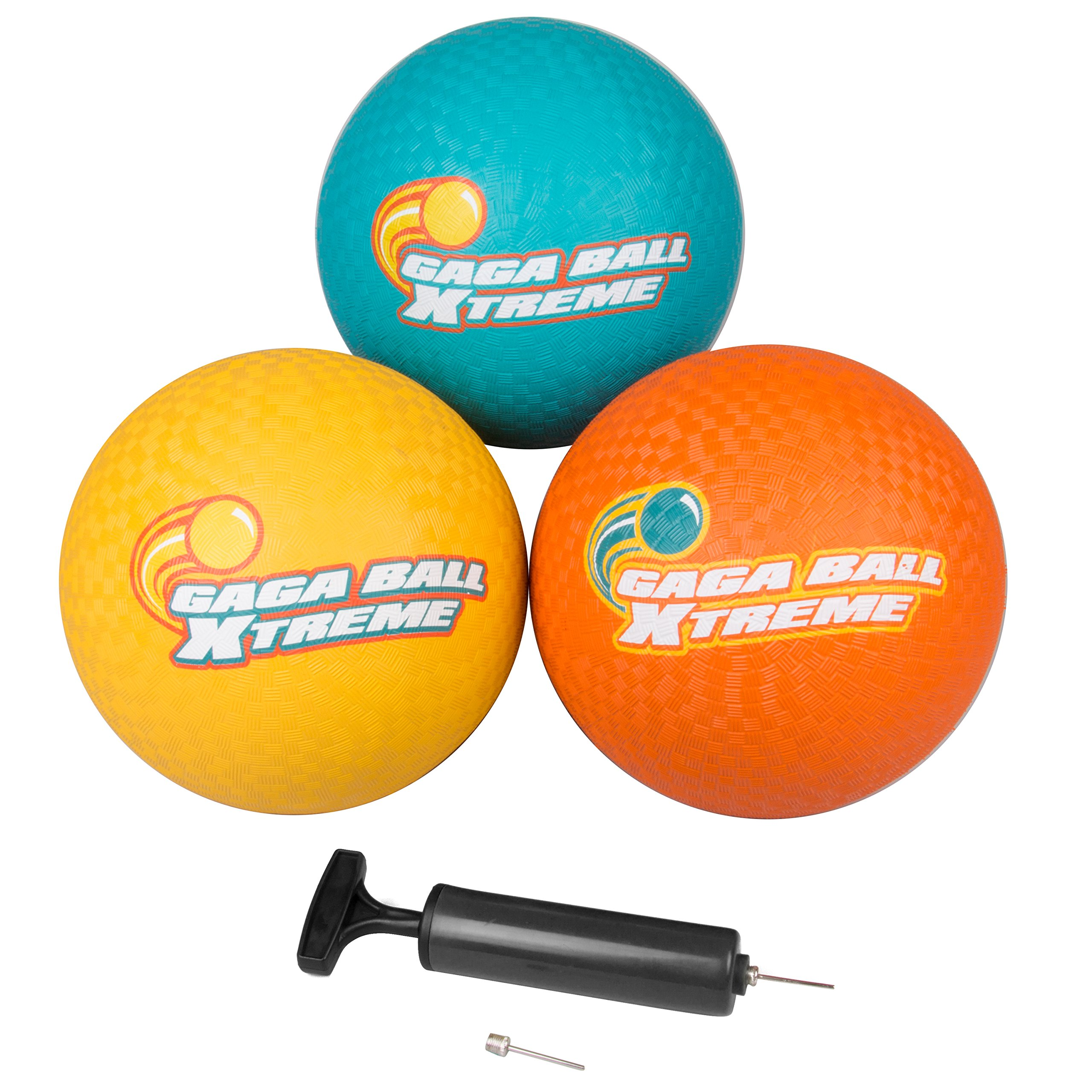 SCS Direct Gaga Playground Balls 3pk (8.5 inches) with Air Pump - Durable Rubber, Lightweight and Great for Dodgeball, Kickball, Gagaball Official Play by SCS Direct