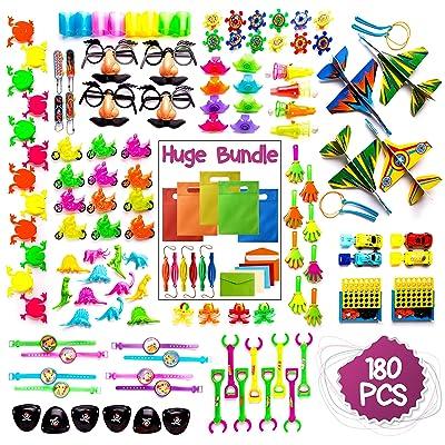 Imagine's 180PCS Carnival Prizes & Party Bags BUNDLE: Party Favors Assortment Plus Punch Balloons: Toys & Games