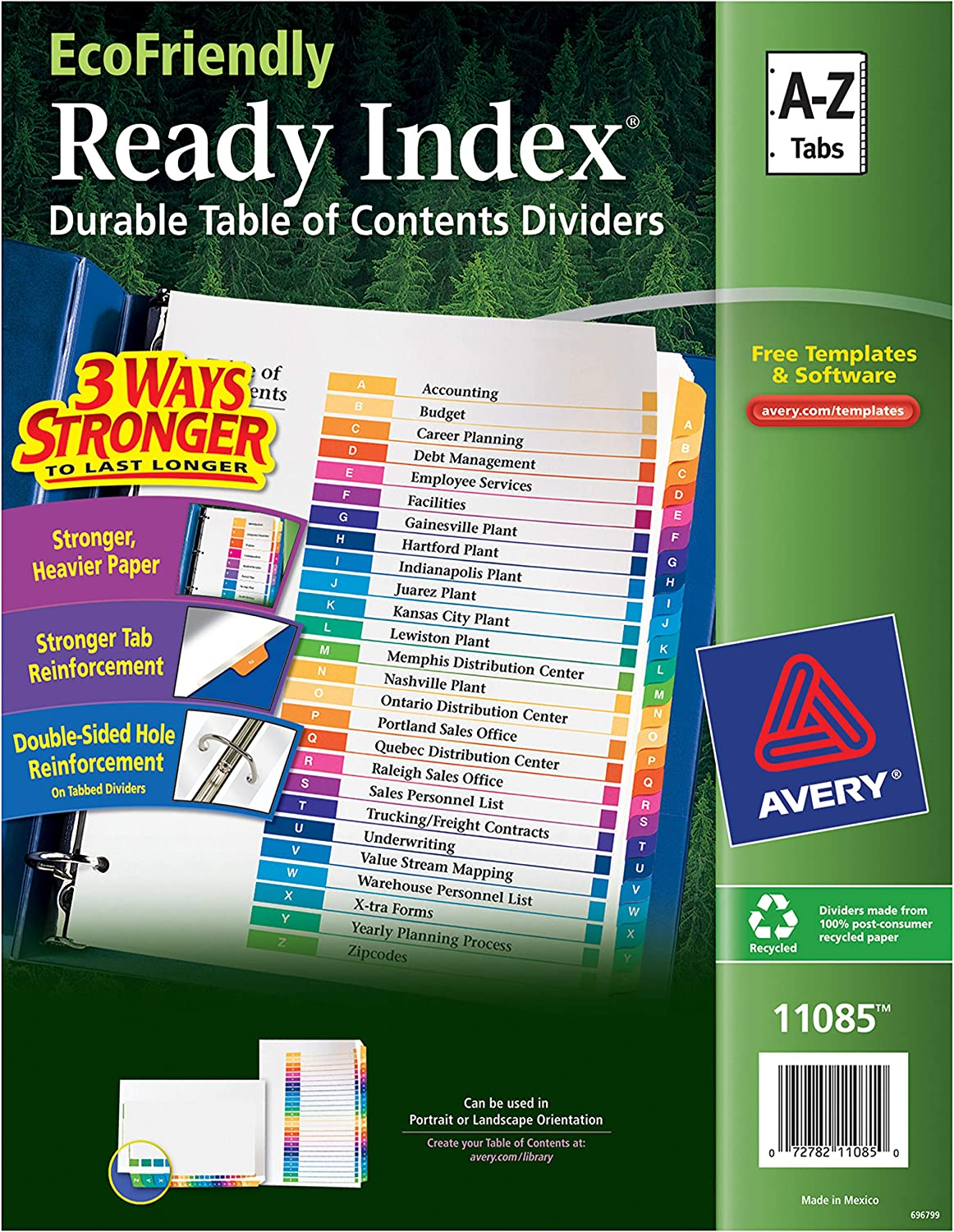 Avery Eco-Friendly 26 Tabs A-Z Dividers for 3 Ring Binders, Customizable Table of Contents, 1 Set (11085),Multicolor