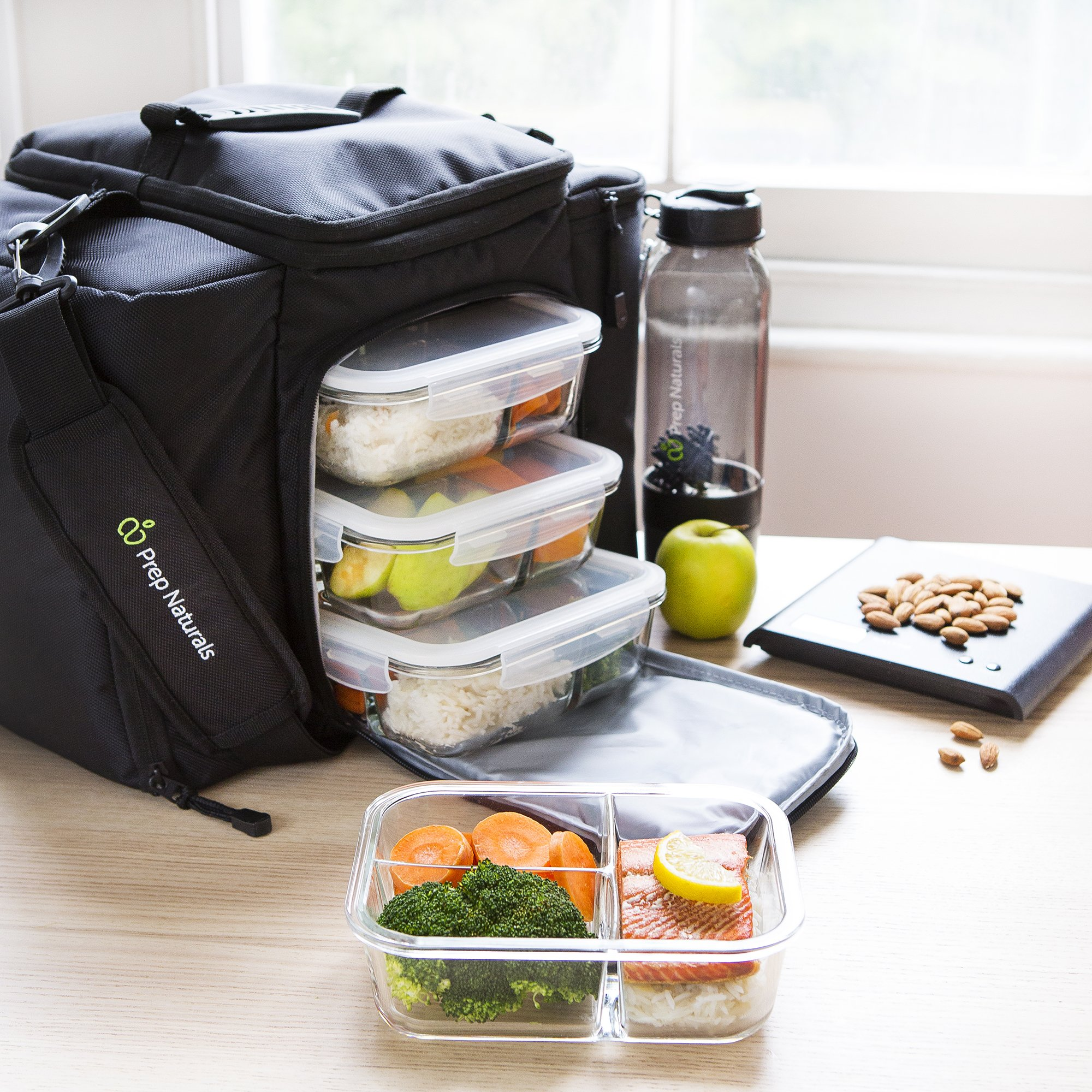 [5-Pack] Glass Meal Prep Containers 3 Compartment - Bento Box Containers Glass Food Storage Containers with Lids - Food Prep Containers Glass Storage Containers with lids Lunch Containers by Prep Naturals (Image #7)