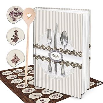 XXL libro de recetas escribir vintage Cubertería Shabby Chic libro de cocina Incluso escritura con Vintage