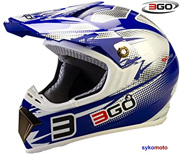 3GO E66X ADULTOS UNISEX MOTOCROSS DIRT ATV OFF ROAD QUAD ENDURO ACU ECE HOMOLOGADO CASCO AZUL