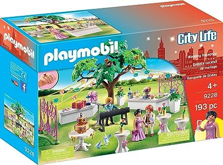 Playmobil Banquete de bodas,Jardín decorado con guirnaldas,Incluye 3 figuras,Regalos y un delicioso