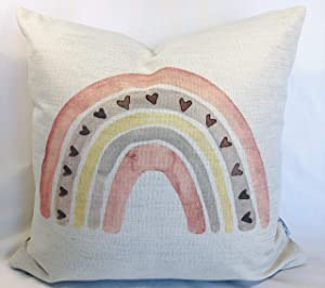 waverly & dakota Pink Single Rainbow Pillow Cover 18x18 | Toddler playroom House Crib Decor | Girls Kid Teen Princess Room | Fun Decorations Colorful for Unicorn Cloud Bedroom Bedding Throw Blanket