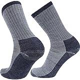 Merino Wool Hiking Socks, RTZAT Unisex Outdoor Thick Cushioned Thermal Moisture Wicking Camping Crew Socks,1/2 Pairs