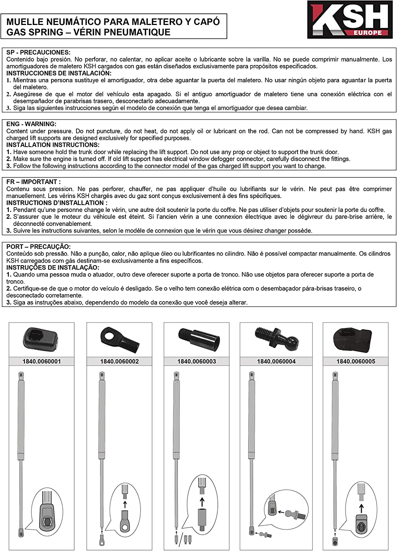 N 600 mm 350 - Ref AZ.1840.0050009 Gas spring for vehicles KSH