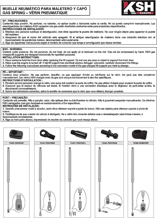 1136483 2 muelles de gas para maletero 450 N 235 mm para focus Kombi DNW Estate 1999//02-2007//12 1.4//1.6 16V 1.8 Turbo DI Amortiguador de gas para puerta trasera RICH CAR