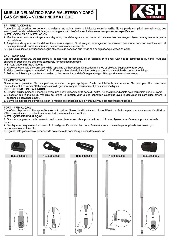 Pistone Pneumatico KSH - Universal N 450 mm 350 Ref AZ.1840.0050006