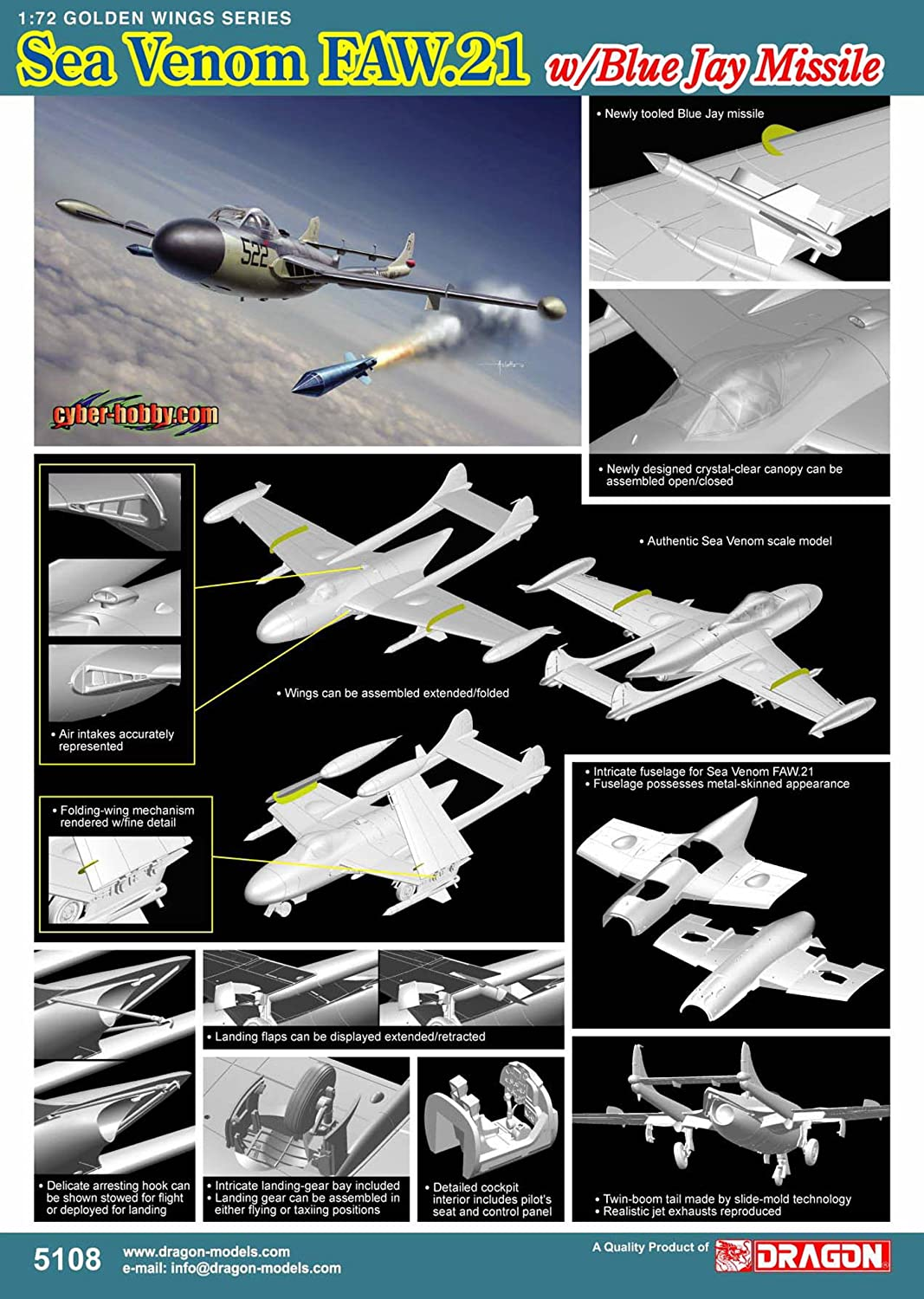 Cyber Hobby Models Sea Venom FAW.21 Model Building Kit with Blue Jay Missile CHC-5108 Scale 1//72 Dragon Models USA Inc
