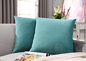 COMFORTLAND 2 Pack Decorative Throw Pillow Covers, Square Soft Luxury Velvet Cushion Covers, 20x20 Solid Pillowcase Set for Sofa Couch Bed Chair Car Home Decor, Blue Green