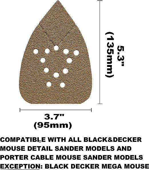 and Porter Cable Mouse Sander Mouse Sandpaper Mouse Sanding Pads Mouse Sander Paper FUGEN 40PCS 800 Grit Mouse Sander Pads for Black Decker Mouse Sander BDCMS20C, BDEMS600, BDAMX etc
