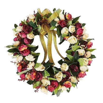 Baigio Woman 14inch Flower Wreath Handmade Artificial Floral Silk Wreath  For Front Door Home Wall Wedding