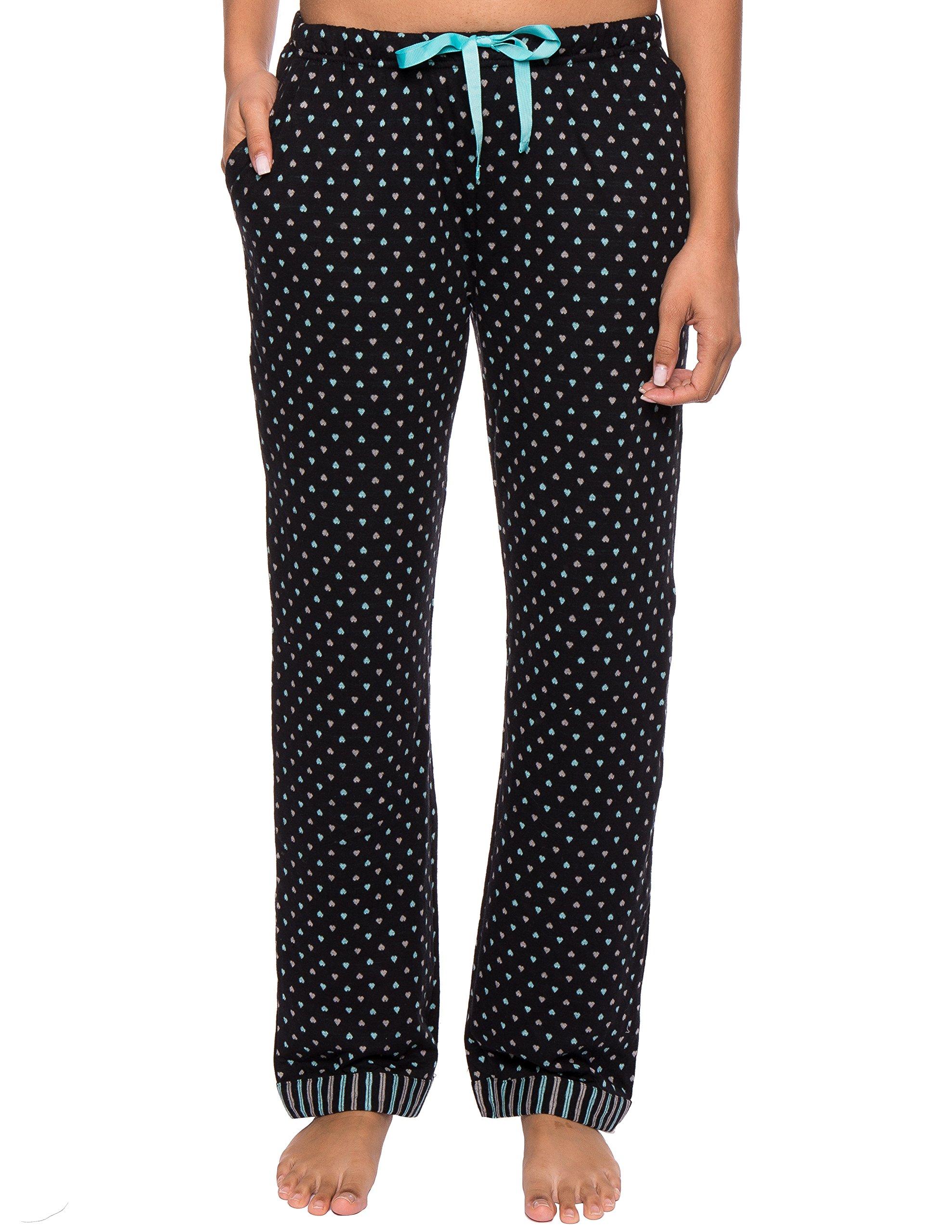 Noble Mount Women's Double Layer Jersey Lounge Pants, hearts, Black/Aqua, Large