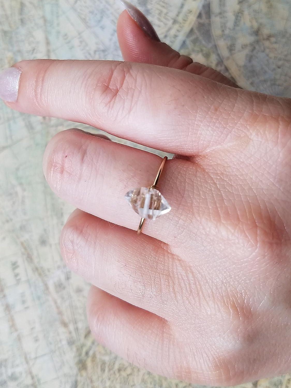 Amazon.com: Dainty Gold Ring / Herkimer Diamond Ring: Handmade
