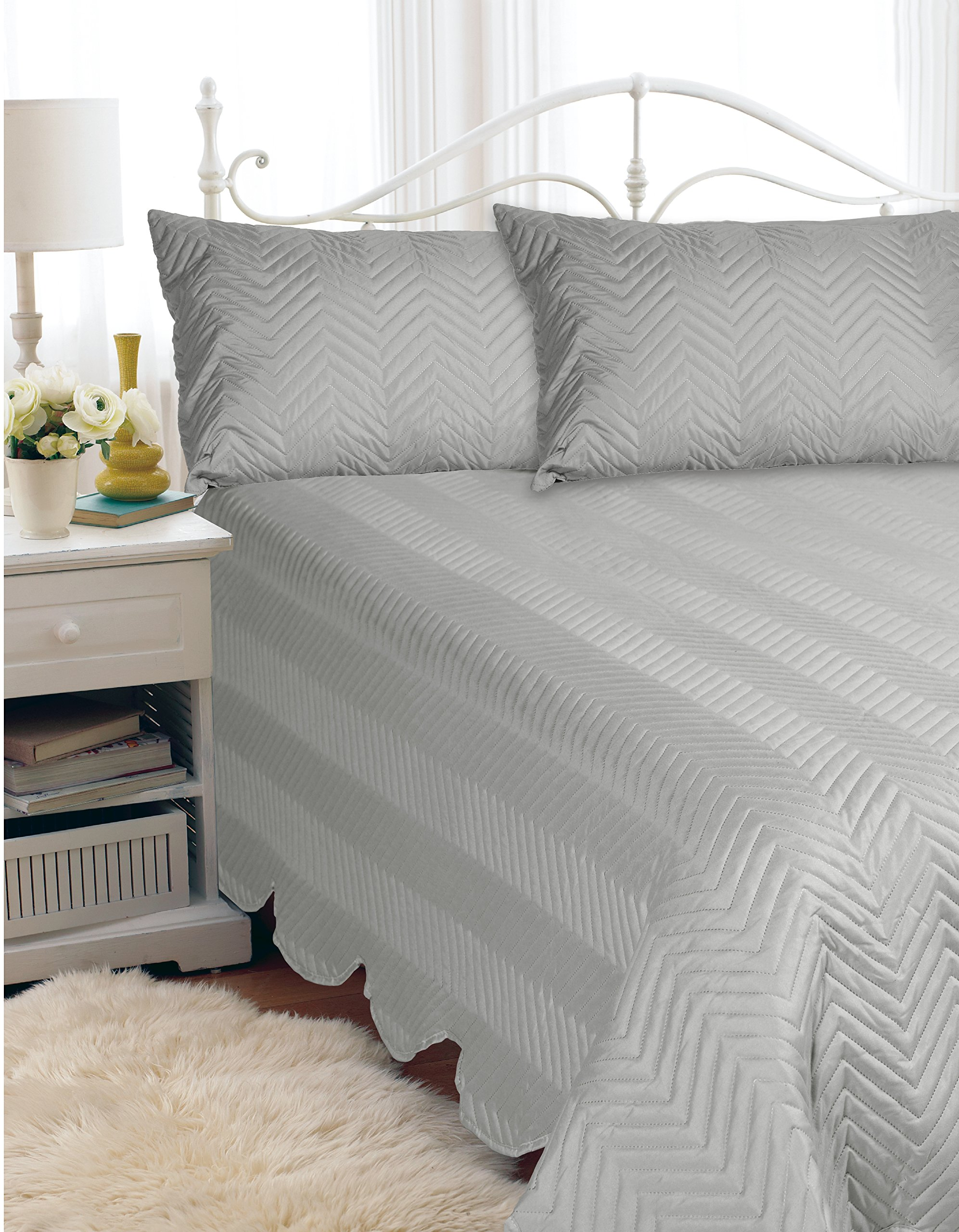 HOTEL 07160 ''Hotel''Quilt Bedspread Set Grey-D/Q Quilted Bedspread Set Grey- Full/Queen