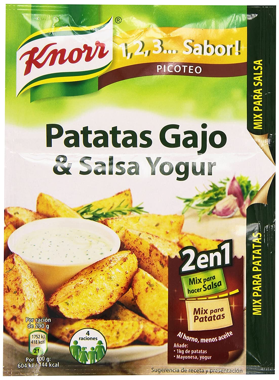 Knorr 1,2,3 ... Sabor Mix para Hacer Patatas Gajo & Salsa Yogur - 47 g: Amazon.es: Amazon Pantry