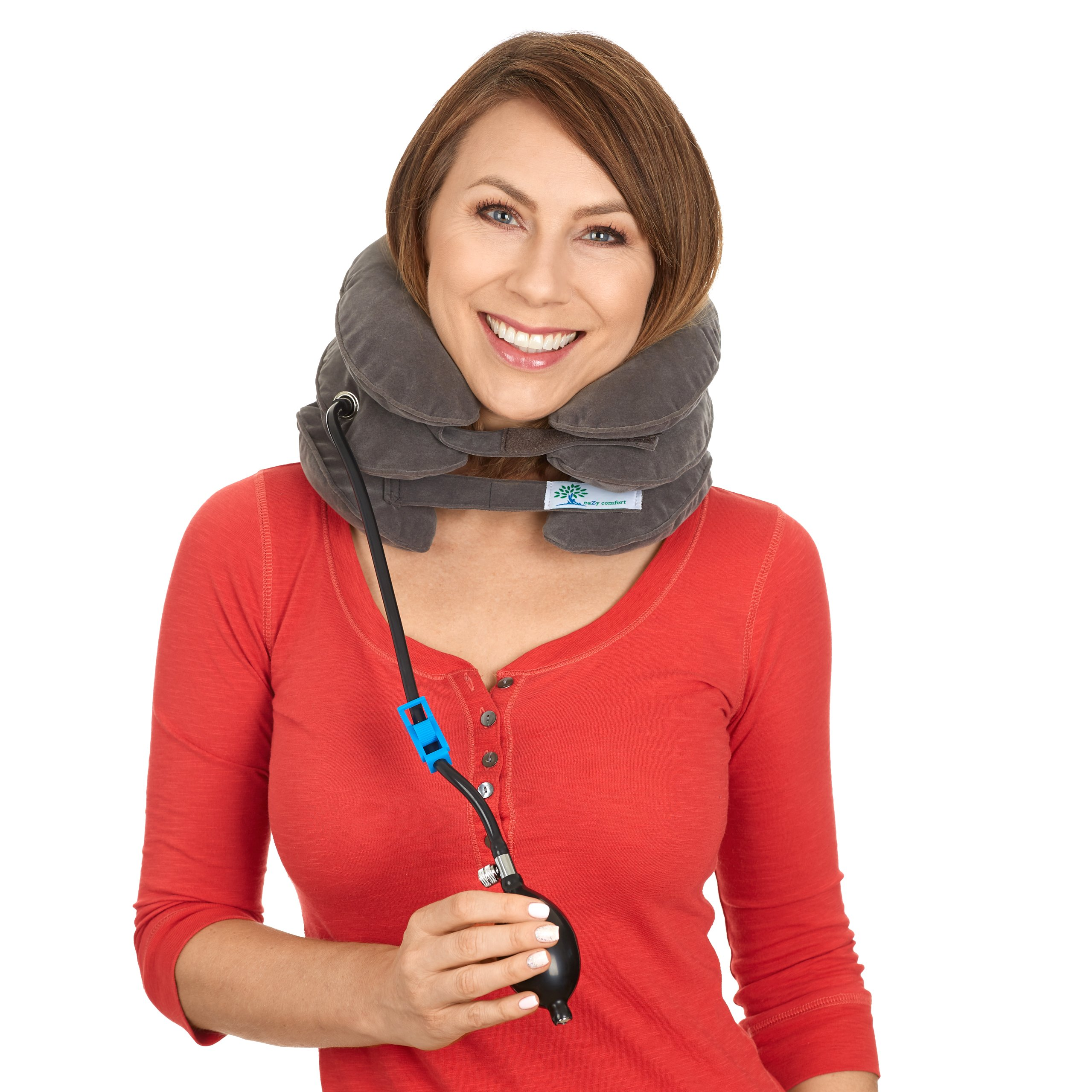 Cervical Neck Traction Device - by Eazy Comfort - Adjustable Home Inflatable Pillow Collar - FDA Registered - Portable Air Unit With Quick Pump - OTC Neck Extender - Pro Spinal Therapy for Pain Relief