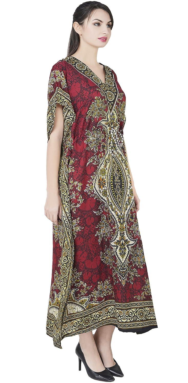SKAVIJ Indien Femme Caftan Abaya Longue Couverture Soiree Robe Kimono  Boheme Tunique Cocktail imprimé Fleuri Ethnique ... bfaf148db89