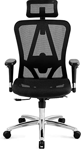 Ticova Ergonomic Office Chair with Adjustable 3D Armrest, Headrest and Lumbar Support – High Back Mesh Office Chair with Breathable Mesh Seat- Reclining Computer Desk Chair