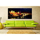 Tamatina Canvas Varanasi Ghats Painting (152x67cm, Multicolour)