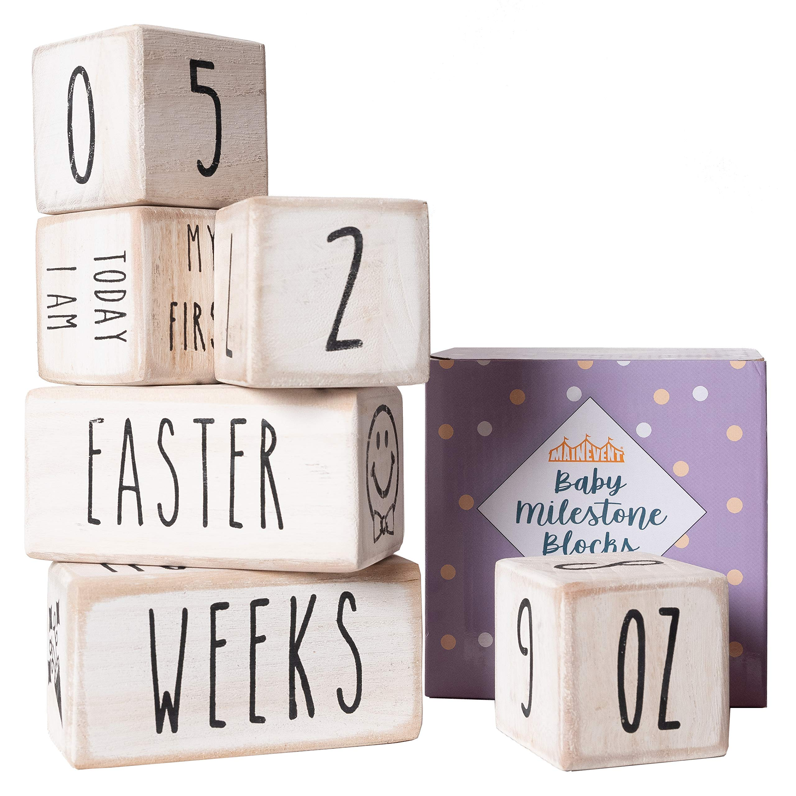 Baby Monthly Milestone Blocks - 6 Blocks, The Most Complete Set, Baby Photography Props for Social Media, Rustic Baby Nursery Decor (White) by MAINEVENT