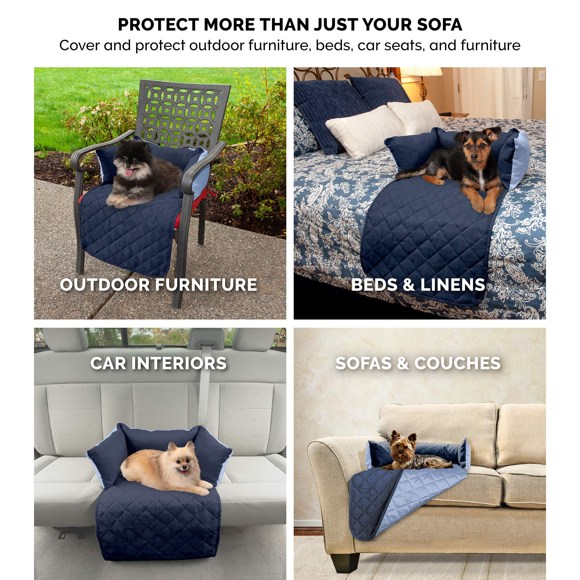 Furhaven Pet Furniture Cover | Sofa Buddy Two-Tone Reversible Water-Resistant Living Room Furniture Cover Protector Pet Bed for Dogs & Cats, Navy/Light Blue, Large