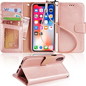 Arae Case for iPhone X/Xs, Premium PU Leather Wallet Case [Wrist Straps] Flip Folio [Kickstand Feature] with ID&Credit Card Pockets for iPhone X (2017) / Xs (2018) 5.8 inch (not for Xr) - Rose Gold